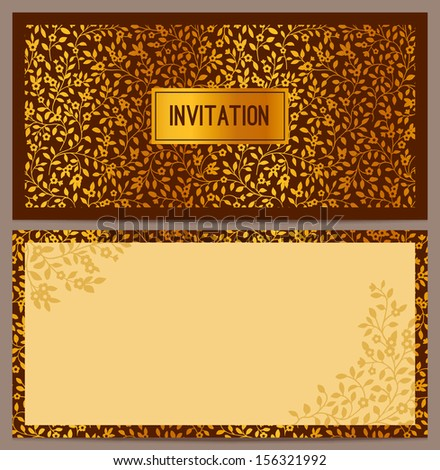 Horizontal luxury invitation with a pattern of small golden flowers on a brown background. Vector illustration. Set. - stock vector