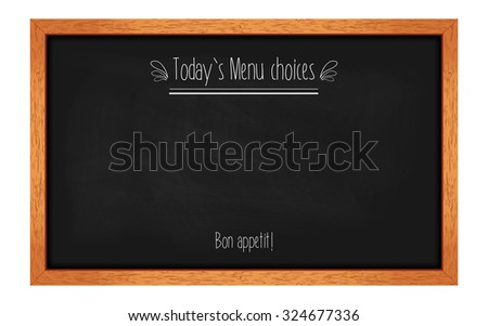 Horizontal menu chalkboard for cafes and restaurants with an inscription. Realistic wooden frame. Vector illustration - stock vector