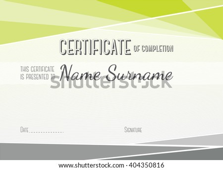 Horizontal Modern Certificate of completion. EPS10 vector template - stock vector
