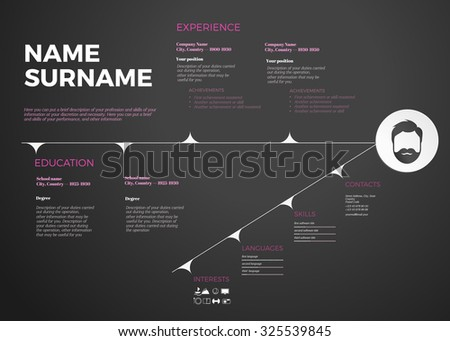 Horizontal Modern Cv Resume Template Timeline Stock Vector (Royalty ...