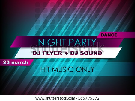 Horizontal music background with lines and place for text.  Vector version. - stock vector