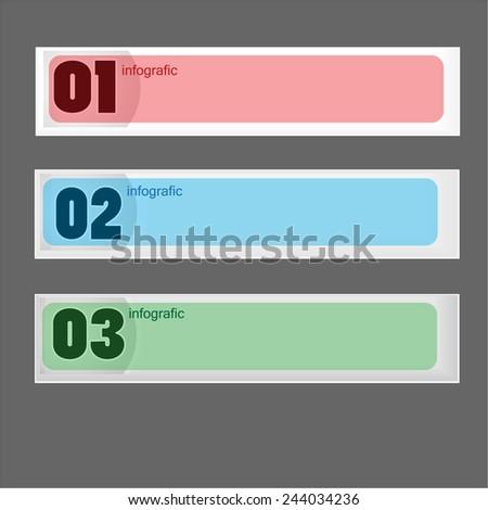 Horizontal One, Two, Three progress labels - Illustration - stock vector