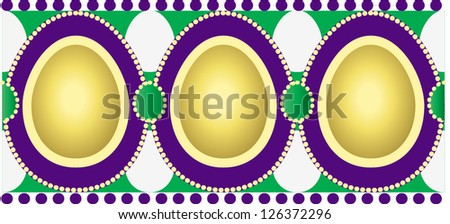 Horizontal ornament with golden eggs , seamless pattern, vector illustration - stock vector