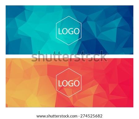 Horizontal polygonal banners - stock vector