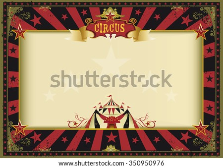 Horizontal poster red black circus. a circus red and black vintage poster for your advertising. Perfect size for a screen. - stock vector