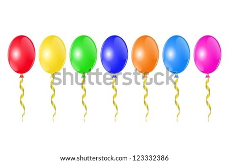 horizontal row of colorful balloons with golden ribbons - stock vector