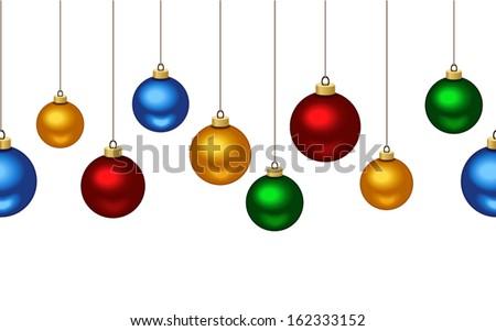 Horizontal seamless background with Christmas balls. Vector illustration.  - stock vector