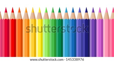 Horizontal seamless background with colored pencils. Vector illustration.