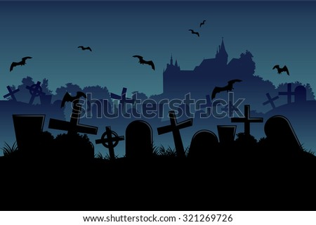Horizontal seamless cemetery and castle halloween landscape - stock vector