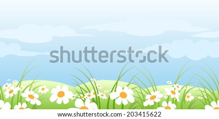 horizontal seamless pattern with green summer meadow