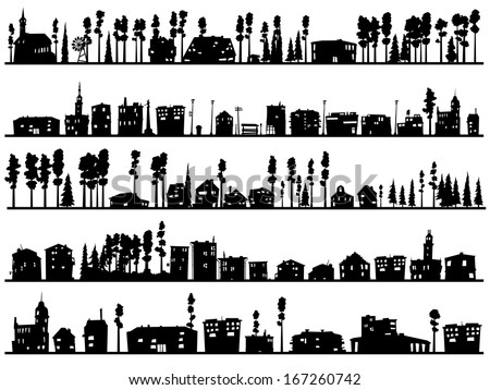 Horizontal silhouettes of childish abstract buildings and trees. - stock vector