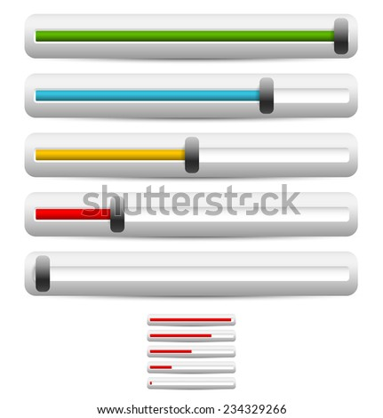 Horizontal sliders, adjusters, bars - stock vector