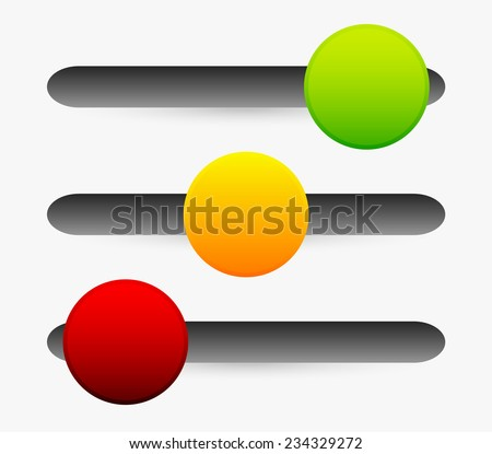 Horizontal sliders, adjusters, 3 state button. - stock vector