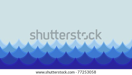 horizontal stylized seamless wave illustration - stock vector