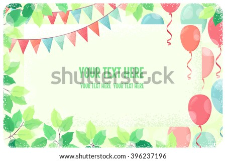 Horizontal template, card with fresh green spring leaves, multicolored party flags and balloons. Retro vector illustration. Place for your text. Invitation, banner, poster, flyer, gift certificate - stock vector