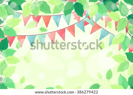 Horizontal template with fresh green spring leaves and multicolored party flags. Retro vector illustration. Bokeh background. Place for your text. Design for invitation, banner, card, poster, flyer - stock vector