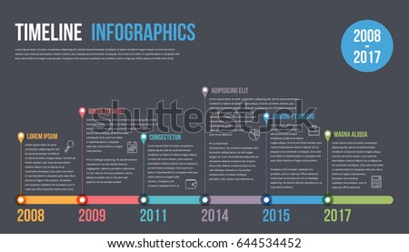 Horizontal timeline infographics template, workflow or process diagram, vector eps10 illustration