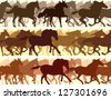 Horizontal vector banner: silhouette herd of horses. - stock photo