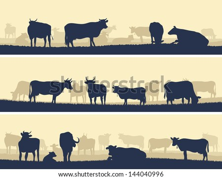 Horizontal vector banner: silhouettes of grazing animals (cows and bulls). - stock vector
