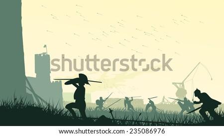 Horizontal vector illustration of swordsmen, spearmen and trebuchet assault of medieval castle. - stock vector