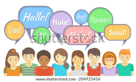 Horizontal vector Illustration of the group of kids that say hello in different languages with colorful speech bubbles in the flat style. It can be used as an infographic element - stock vector