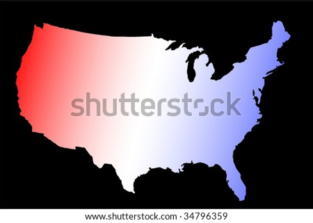Horizontal Vector Image Of The Outline Of The United States Of America Usa In