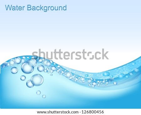 horizontal water background with bubbles of air - stock vector