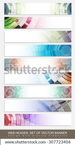 Horizontal website header, banner or footer with colorful abstract pattern - set. Vector illustration. - stock vector