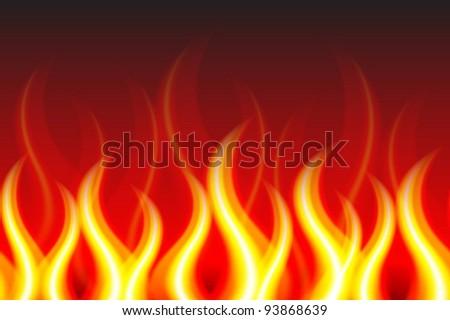 Horizontally Seamless Fire Pattern - stock vector