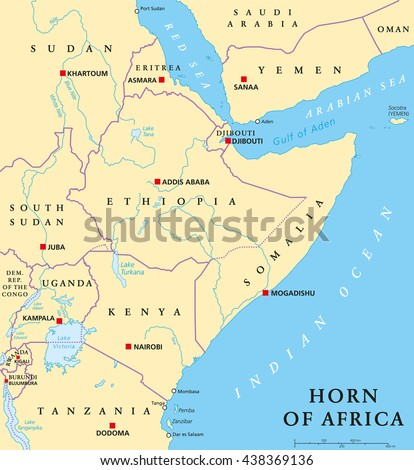 Horn of Africa peninsula political map with capitals, national borders, important cities, rivers and lakes. In ancient times called Land of the Berbers. English labeling and scaling. Illustration. - stock vector