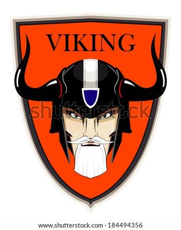 Horned Viking Warrior - stock vector