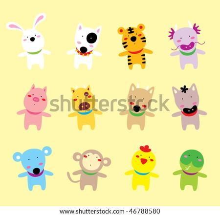 horoscope animal doodle - stock vector