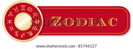 Horoscope Banner. Astrology symbols of the Zodiac, golden circle, red background: Aquarius, Aries, Cancer, Capricorn, Gemini, Leo, Libra, Pisces, Sagittarius, Scorpio, Taurus, Virgo. EPS8 compatible.