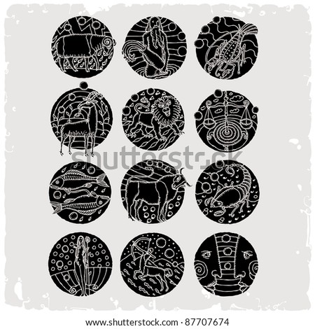 horoscope black and white - stock vector