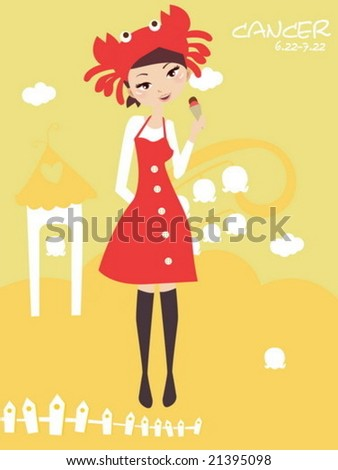 Horoscope cancer cute funny girl - stock vector