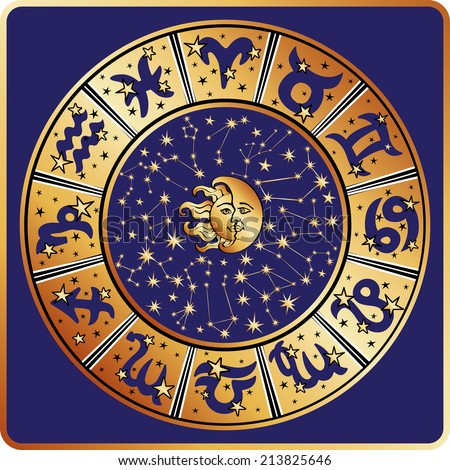 Horoscope circle with  Zodiac signs and constellations of the zodiac,moon and sun faces.Inside are text and stars.Gold round on blue background.Retro style.Vector illustration - stock vector