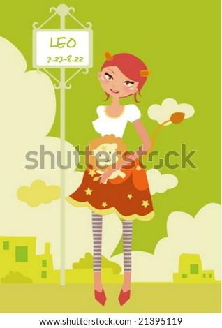 Horoscope leo cute funny girl - stock vector