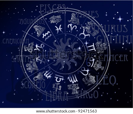 Horoscope - sky zodiac signs - stock vector