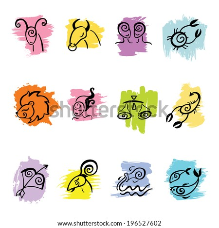 Horoscope Zodiac Star signs, vector set. Hand drawn illustration. - stock vector