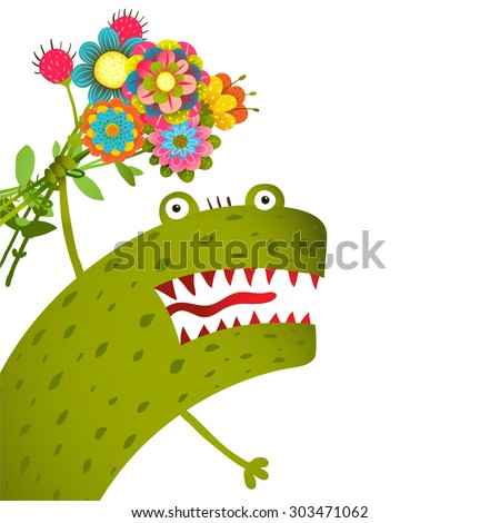 Horrible and Cute Funny Monster with Bunch of Flowers Congratulating. Colorful hand drawn illustration for kids of cute creature. Vector drawing. - stock vector