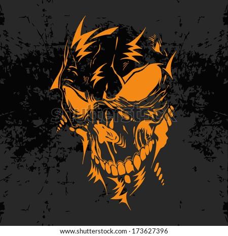 Horrible skull illustration - scary and dangerous motive  - stock vector