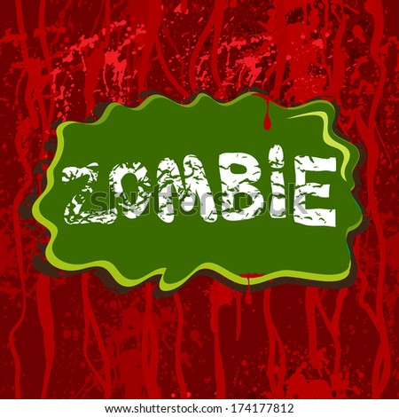 Horror background with dripping blood and zombie. Seamless pattern. - stock vector