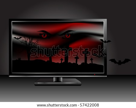Horror scene on the television screen - stock vector