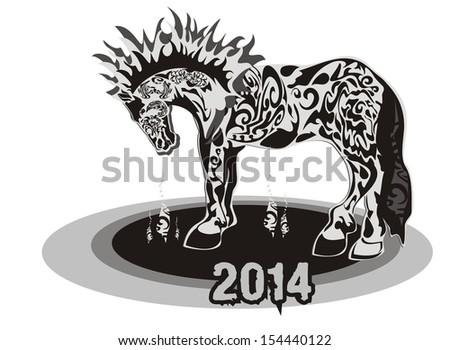 Horse 2014 - stock vector