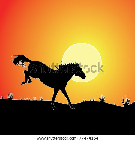 Horse against sunset. Colorful vector background. - stock vector