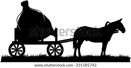 Horse and bag logotype - stock vector