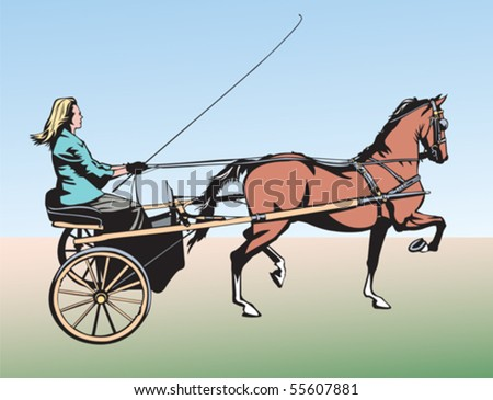 horse and carriage - stock vector