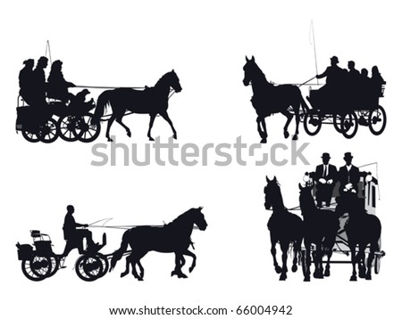 horse and carriage silhouette collection - stock vector