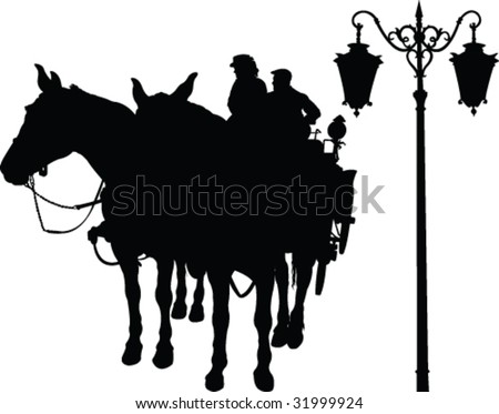horse and carriage silhouette - vector