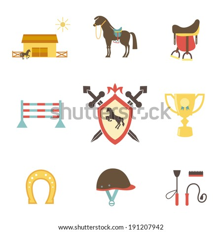 Horse and equestrian icons in flat style with a horse or pony in profile  stables  paddock  riding hat  jump  trophy  horseshoe  whip   crop  brush  saddle and emblem with a shield and crossed swords - stock vector